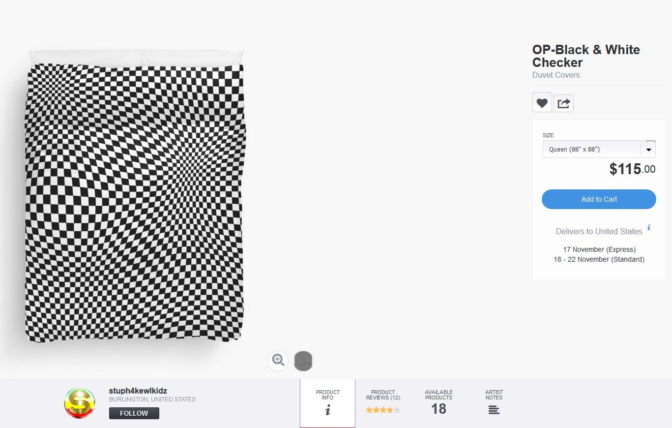 #stuph4kewlkidz #blackandwhitechecker #checkerprint #duvetcover #bedding #bedroom #roomdecor #urbanstyle #opticalillusion #op #opart